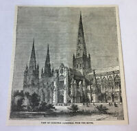 1885 magazine engraving ~ VIEW OF LICHFIELD CATHEDRAL England