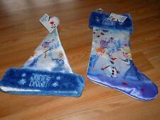 "Disney Frozen Anna Elsa Satin Christmas Holiday 20"" Stocking & Santa Hat 16"" New"