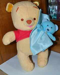 """2005 MATTEL 10"""" Winnie The Pooh Fisher Price, Holding a Blue Lovey Bear Plush"""