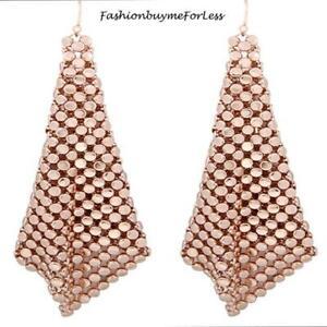 Retro Women Jewelry Square Net Mesh Rose Gold Chainmail Sheets Dangling Earrings