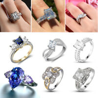 925 Silver Crystal Sapphire Gemstone Women Wedding Engagement Ring Jewelry 6-10