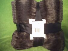 KING MINK fur (faux) Blanket LINED!or Queen long Mink coat feel! charcoal brown