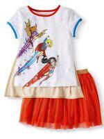 DC COMICS Superhero Girls Outfit Set Shirt Tutu Skirt Detachable Cape XL 14 16