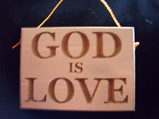 Small handmade God Is Love hanging wooden wall sign - bible, christian,