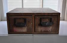 Antique Wooden 2 Drawer Industrial File Cabinet