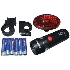 2 PC LED BICYCLE LIGHT SET FRONT AND REAR WITH MOUNTING BRACKETS AND BATTERIES