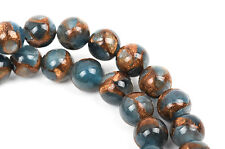 8mm Denim Blue Composite Golden Quartz Round Beads, non-faceted 1 strand gmx0021