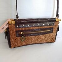 Vintage Vanessa Woven Bamboo Shoulder Purse Handle Bag Clutch Brown 50152 w/Tag