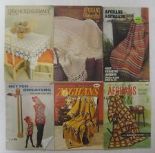 Vintage Lot CROCHET AFGHANS Small Pattern Booklets Coats & Clark's Star Book