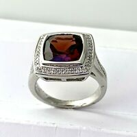 Diamond & Garnet Ring in Sterling Silver Sz 7  #55