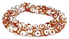 😏 Achat DZI Beads Strang facet. Kugeln Kreise 8 mm orange/ weiß bead 😉 ACHA-18