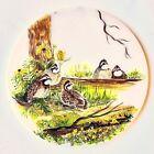 Vintage 80s Original Oil Painting Marble Trivet Board Nature UK Flower Birds Log