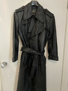 Vintage unisex black Nappa Leather Trench - Equivalent XS Men And S Women