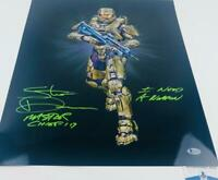 Steve Downes signed METALLIC 16X20 photo Master Chief XBOX HALO BAS M62200
