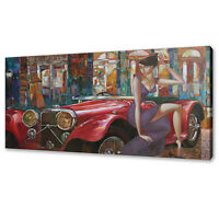 LADY IN A BIG CITY RED VINTAGE CLASSIC RETRO CAR CANVAS PRINT WALL ART PICTURE