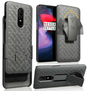 Black Ribbed Case Kickstand Cover + Belt Clip Holster for OnePlus 6 A6000/A6003