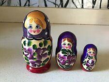 Vintage Russian Babushka 3 Pieces Wooden Nesting Dolls