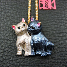 New Betsey Johnson Blue White Enamel Delicate Cat Kitten Pendant Long Necklace