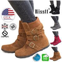 Women's Winter Warm Ankle Boots Ladies Fur Snow Buckle Flat Suede Shoes Size 9.5