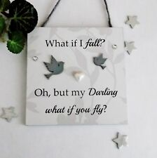 Inspirational, Uplifting What If I Fall  Handmade Wooden Plaque
