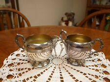 VINTAGE E P COPPER (SP LEAD MTS) CREAM & SUGAR SET MADE IN CANADA MARKED 109