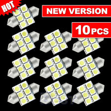 10 x CAR 12V LED 31MM FESTOON INTERIOR WHITE LIGHT BULB 5050 6SMD AUTO DOM