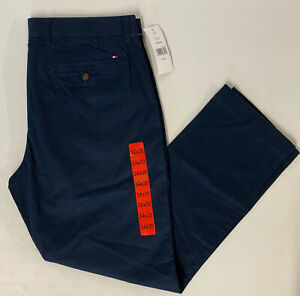 TOMMY HILFIGER Mens Tailored Fit Chino Pants 34x30 Stretch Sky Captain Navy BLUE