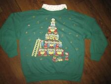 M Medium VTG UGLY TACKY Christmas Sweater Party Sweatshirt Bear Tree! Mens Women