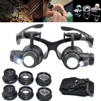 10/15/20/25X LED Eye Jeweler Watch Repair Magnifying Glasses Magnifier Loupe L