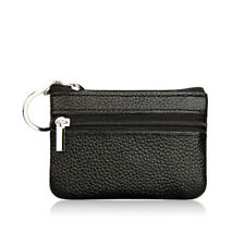 Unisex Black Leather Mini Coin Change Purse Wallet Clutch Zipper Small Bag Gift