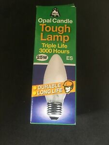Pack of 5 Bell 25W 35mm Opal Tough Candle Lamp ES E27 Screw Cap Triple Life Bulb