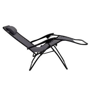 Zero Gravity Metal Sun Lounger - Grey: Next Day (Reclining Garden Deck Chair)