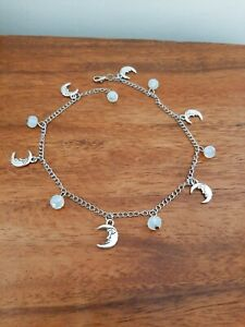 Long Adjustable Chain Anklet + Moon + Moonstone Gemstone Beads Charms