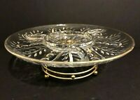 Vintage Lazy Susan Serving Platter Spinning Relish Dish W/Gold Tone Stand