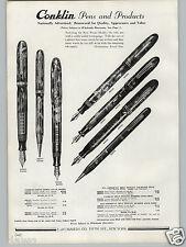 1936 PAPER AD 3 PG Conklin Fountain Pen Pens Pencil Desk Sets Nozac Word Gauge