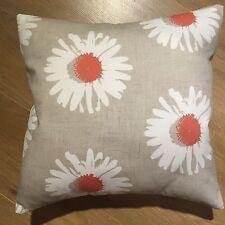 """One New Sun Flower Orange & White Cushion Cover 16"""" Linen Look"""