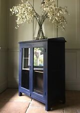 French Navy Blue Antique Painted Display China Bookcase Glazed Cabinet Cupboard