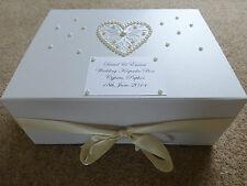 Large Ivory Wedding Keepsake Box Personalised Memory Box Ivory Pearl *Stunning*