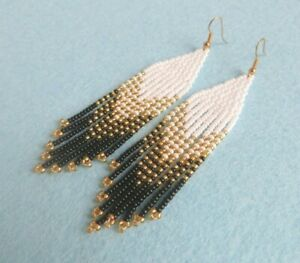 Fringe beaded earrings black white boho style Native American Beaded Earrings