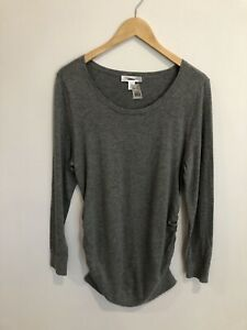 Motherhood Maternity Sweater Large Gray Long Sleeve Thin Knit Scoop Pullover