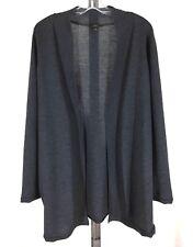 Talbots Sz L Gray Pure Italian Merino Open Front Cardigan Sweater