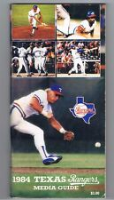 Texas Rangers Baseball 1984 Media Guide Coors Beer Advertising Buddy Bell Hough