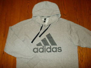 ADIDAS HEATHER GRAY HOODED SWEATSHIRT MENS XL EXCELLENT CONDITION