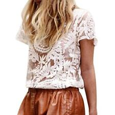 Soft Women Sheer Sleeve Lace Crochet Hollow Loose Tee Shirt Casual Top Blouse