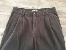 Territory Ahead Pleated Steep Twill Casual Pants Men's 32 Raw Hem Olive Brown