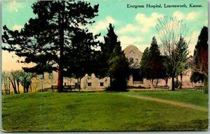 "Leavenworth, Kansas Postcard ""Evergreen Hospital"" Building View - 1911 KS Cancel"