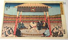 VTG K. Nishiyama Japanese Asian Art Print Sumo Wrestling Under Pagoda