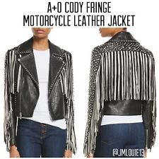 2018 Alice + Olivia Cody Fringe Moto Leather Jacket $1695 Sz Small 4 6