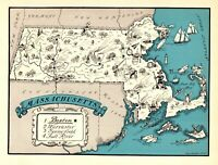 1930s Antique MASSACHUSETTS State Map RARE Animated Picture Map BLU 6917