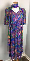 Vtg 80s Diane Freis Dress & Scarf/Belt Georgette Short Sleeve Hippie Mod MM63